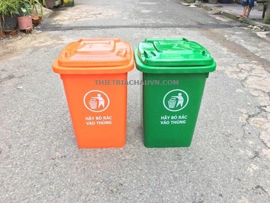 Thùng rác nhựa HDPE nắp kín 60 lít