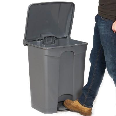 Thùng rác nhựa HDPE có đạp chân 68 lít màu xám