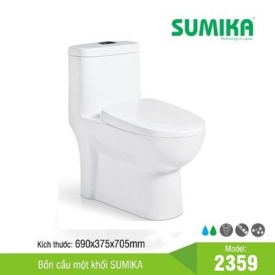 Bồn cầu một khối xả hút xoáy nắp thả êm Sumika 2359