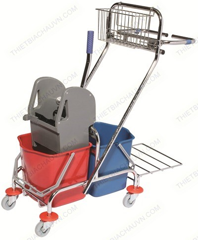 Xe đẩy vắt cây lau nhà 2 xô có giá để đồ khung inox