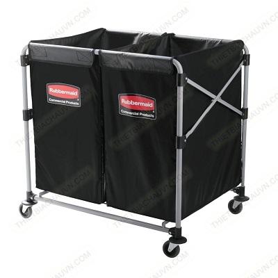 Xe thu gom đồ dơ - đồ giặt ủi 2 ngăn