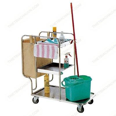 Xe dọn vệ sinh đa năng khách sạn bệnh viện khung inox