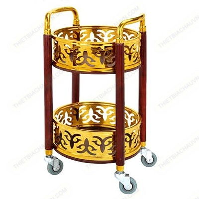 Xe đẩy phục vụ đồ uống trụ tròn inox xi mạ vàng