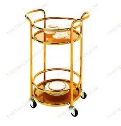Xe đẩy rượu hai tầng khung inox xi mạ vàng cao cấp