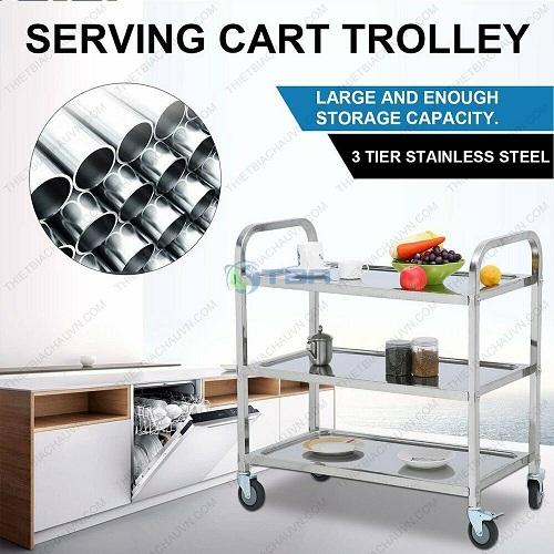 Xe đẩy phục vụ bàn ăn bằng inox ba tầng
