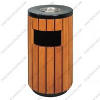 Thùng rác gỗ tròn có khay gạt tàn